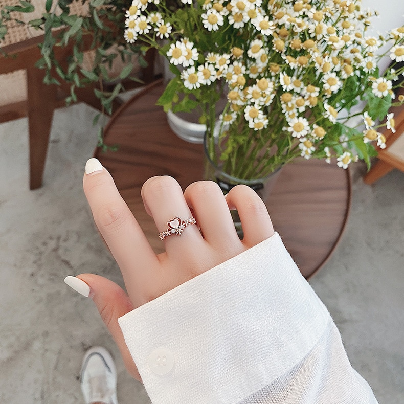 New Exquisite Crystal Flower Ring Fashion Temperament Sweet Versatile Love Opening Ring Female Jewelry